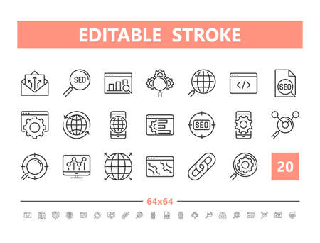 SEO 20 line icons. Vector illustration in line style. Editable Stroke, 64x64, 256x256, Pixel Perfect.