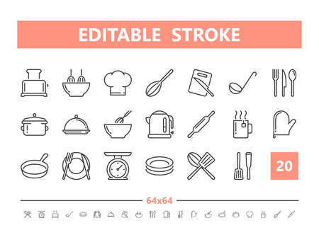 Kitchen and Cooking 20 line icons. Vector illustration in line style. Editable Stroke, 64x64, 256x256, Pixel Perfect. Stock Illustratie