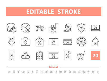 Credit 20 line icons. Vector illustration in line style. Editable Stroke, 64x64, 256x256, Pixel Perfect.