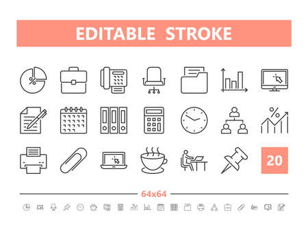 Office work 20 line icons. Vector illustration in line style. Editable Stroke, 64x64, 256x256, Pixel Perfect.