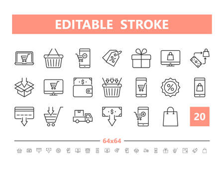 E-commerce 20 line icons. Vector illustration in line style. Editable Stroke, 64x64, 256x256, Pixel Perfect.