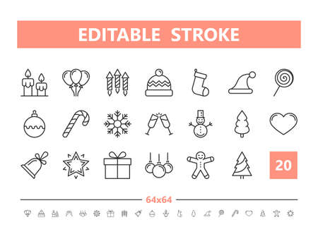 Christmas 20 line icons. Vector illustration in line style. Editable Stroke, 64x64, 256x256, Pixel Perfect.