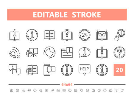 Help and Support 20 line icons. Vector illustration in line style. Editable Stroke, 64x64, 256x256, Pixel Perfect.