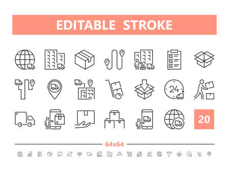 Delivery 20 line icons. Vector illustration in line style. Editable Stroke, 64x64, 256x256, Pixel Perfect. Stock Illustratie