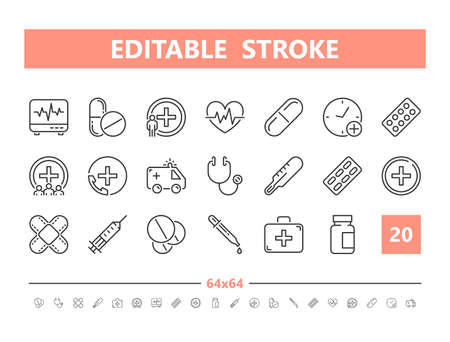 Medicine and Health 20 line icons. Vector illustration in line style. Editable Stroke, 64x64, 256x256, Pixel Perfect.