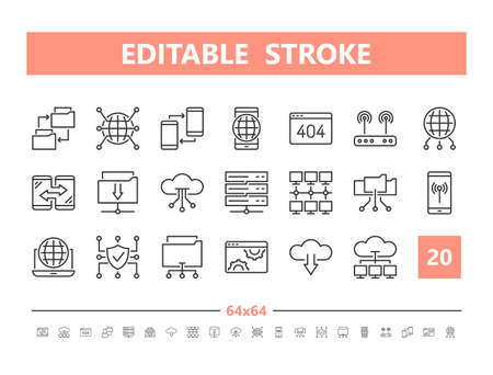 Internet technology 20 line icons. Vector illustration in line style. Editable Stroke, 64x64, 256x256, Pixel Perfect.