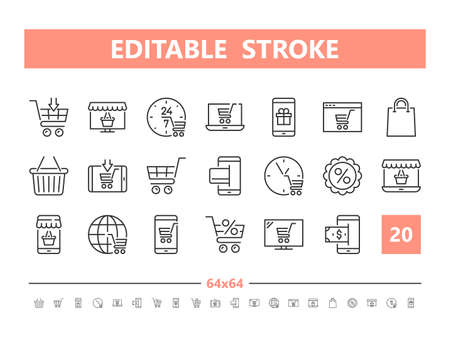 Online shopping 20 line icons. Vector illustration in line style. Editable Stroke, 64x64, 256x256, Pixel Perfect.