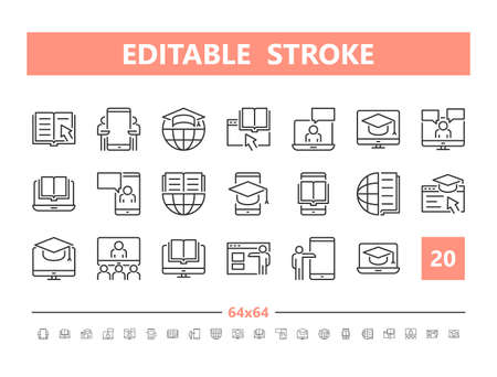 Online Education 20 line icons. Vector illustration in line style. Editable Stroke, 64x64, 256x256, Pixel Perfect.