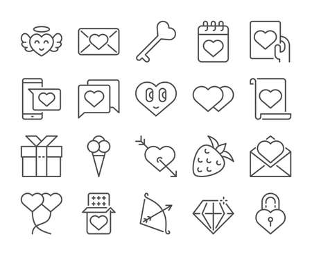 Love icon. Happy Valentines Day line icons set. Vector illustration. Editable stroke.