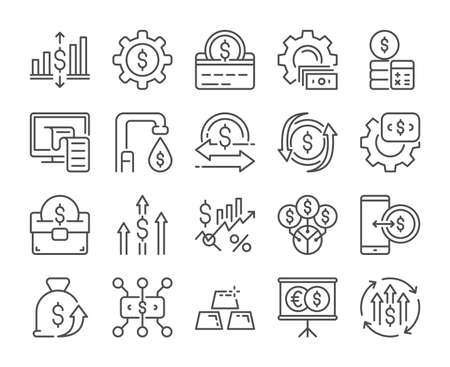 Finance analytics icon. Finance management line icons set. Vector illustration. Editable stroke.