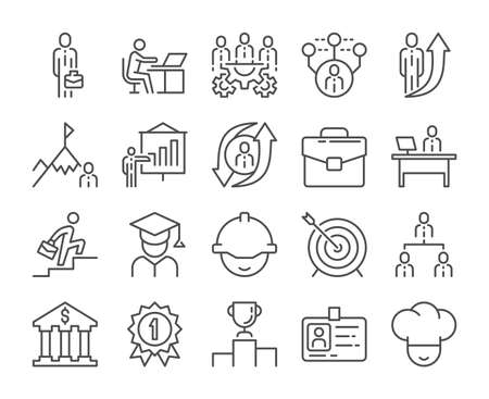 Career icon, Career development line icons set. Vector illustration. Editable stroke.