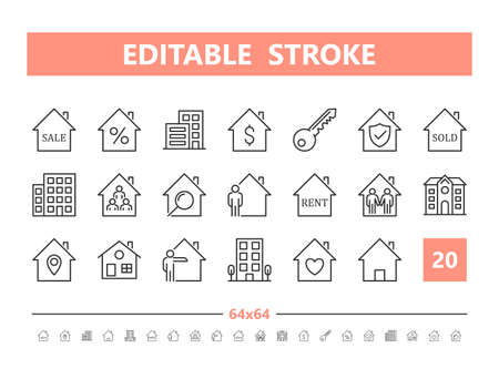Real Estate 20 line icons. Vector illustration in line style. Editable Stroke, 64x64, 256x256, Pixel Perfect. Stock Illustratie