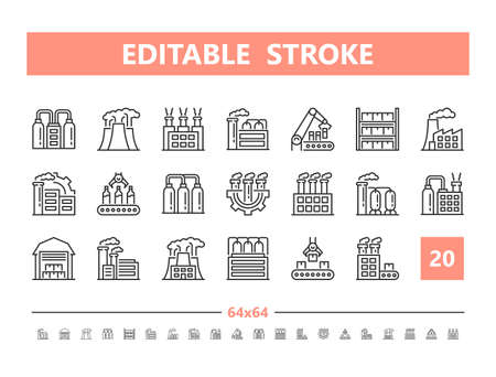 Factory 20 line icons. Vector illustration in line style Editable Stroke