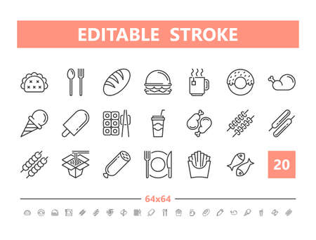 Food 20 line icons. Vector illustration in line style Editable Stroke Stock Illustratie