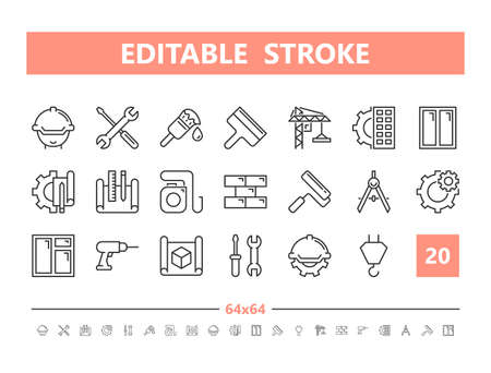 Construction 20 line icons. Vector illustration in line style Editable Stroke