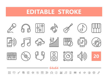 Sound and Music 20 line icons. Vector illustration in line style Editable Stroke Stock Illustratie