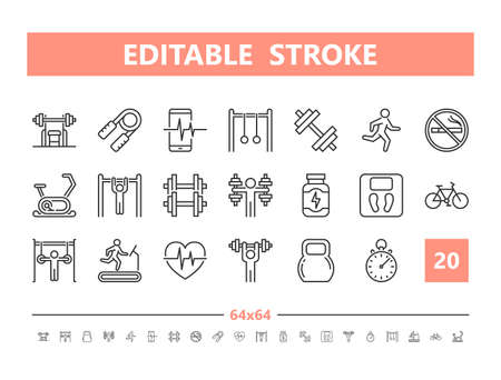 Gym 20 line icons. Vector illustration in line style Editable Stroke