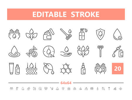 Skin care 20 line icons. Vector illustration in line style Editable Stroke Stock Illustratie