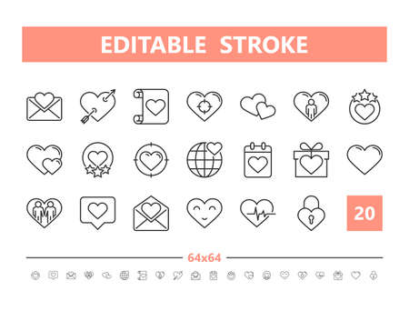 Friendship and Love 20 line icons. Vector illustration in line style. Editable Stroke Stock Illustratie