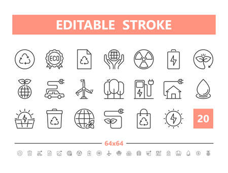 Ecology 20 line icons. Vector illustration in line style Editable Stroke Stock Illustratie