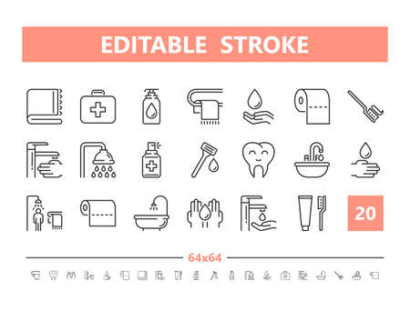 Hygiene 20 line icons. Vector illustration in line style Editable Stroke
