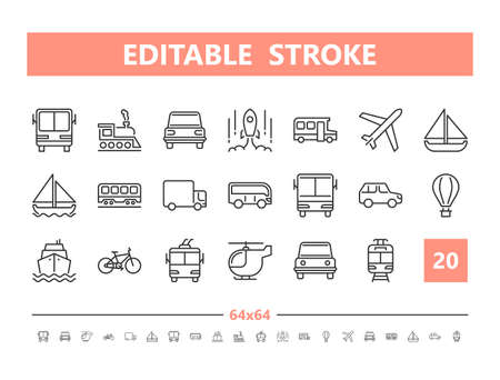 Transport 20 line icons. Vector illustration in line style Editable Stroke