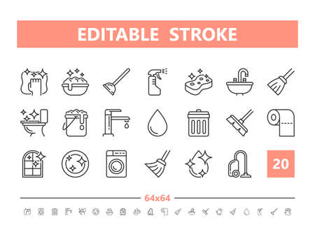 Cleaning 20 line icons. Vector illustration in line style Editable Stroke Stock Illustratie