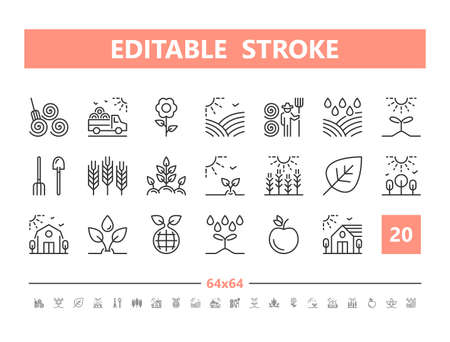 Farm 20 line icons. Vector illustration in line style Editable Stroke