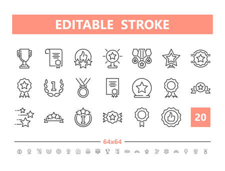 Awards and Achievements 20 line icons. Vector illustration in line style. Editable Stroke