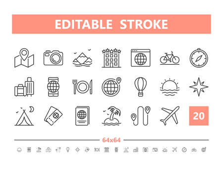 Tourism and Travel 20 line icons. Vector illustration in line style. Editable Stroke