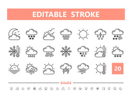 Weather 20 line icons. Vector illustration in line style. Editable Stroke Stock Illustratie