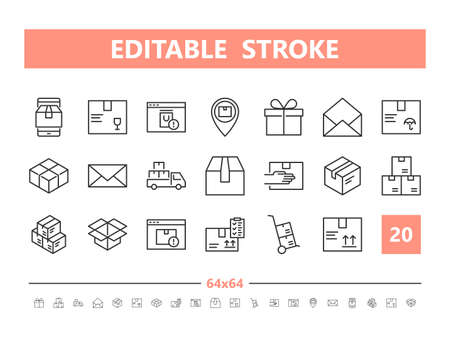 Package Delivery 20 line icons. Vector illustration in line style. Editable Stroke