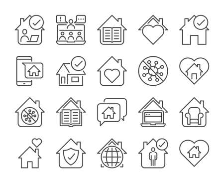 Telecommuting icon. Stay home line icons set. Vector illustration. Editable stroke.