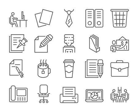 Office icon. Office work line icons set. Vector illustration. Editable stroke. Stock Illustratie