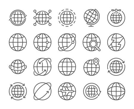Globe icon. Global communications line icons set. Vector illustration. Editable stroke. Stock Illustratie