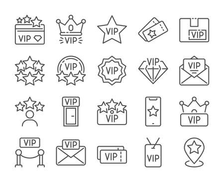 VIP icon. Very Important Person line icons set. Vector illustration. Editable stroke. Stock Illustratie