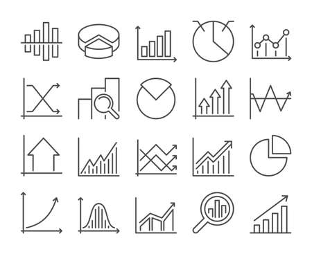 Graph icon. Chart and Graph line icons set. Vector illustration. Editable stroke.