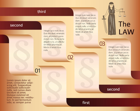solicitor: Modern design style infographic for Legal & law firm. Vector illustration. Can be used for business presentation or brochure template the justice office, notary company, business card lawyer Illustration