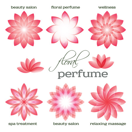 massage symbol: Set flowers isolated abstract icons design. Floral parfum & organic cosmetician for spa treantment. Concept symbol for boutique, beauty salon, relaxing massage, resort. Vector illustration