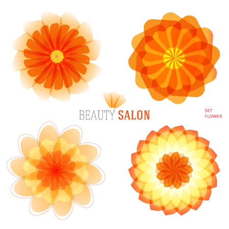 hotel resort: Set flowers abstract vector icons design template. Wellness & SPA creative idea. concept symbol icon for boutique, beauty salon, cosmetician, relax massage, hotel & resort. Vector illustration