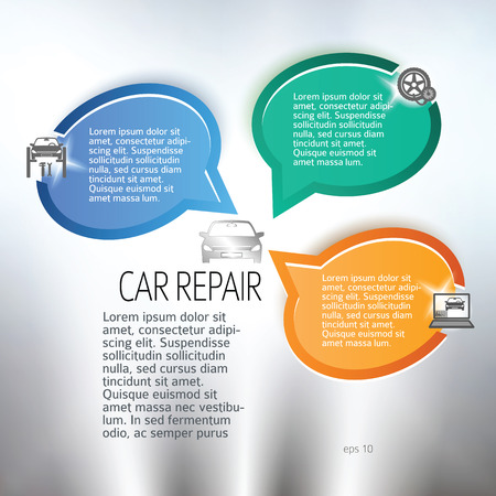 auto service: Car repair background with icons design elements on gray blur glowing background with bubble speak place for text. Business presentation template for vehicle service newsletter.