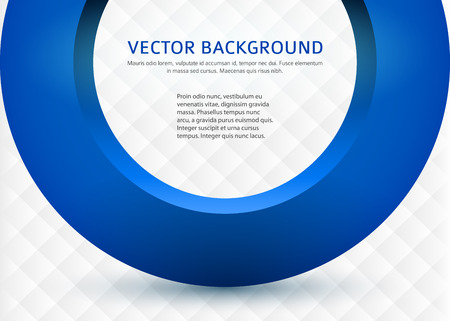 title page: Label blank card template, white background square pattern and 3d blue half ring. Vector illustration. Modern design editable layout title page