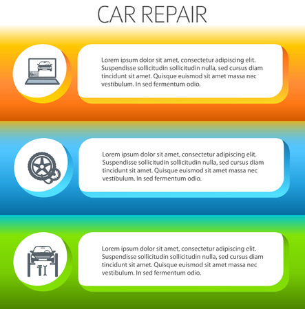 page layout: Car service background business presentation template with ribbon banner horizontal. Vector illustration for info-graphics, number options, web site, page layout firm automobile repair Illustration