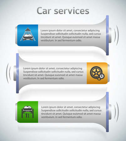 webbanner: Auto service and car wash background with icons design elements on horisontal banner. Modern business presentation template for car repair webbanner. Vector illustration  megaphone isolated