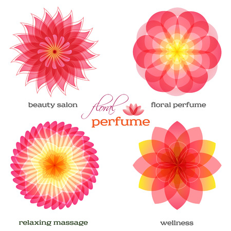 massage symbol: Set flowers isolated icons design. Floral aromatherapy & organic production for spa treatment. Concept symbol for floral parfume, beauty salon, relax aroma massage, resort. Vector illustration