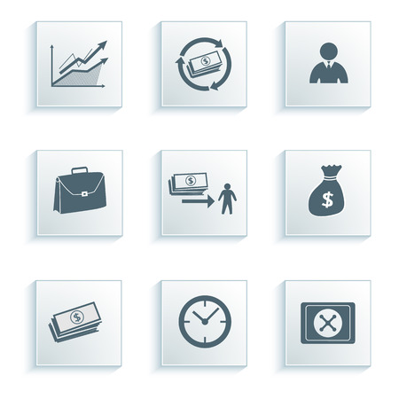 tax policy: Set icons banking, bank. Vector illustration of different kinds of banking. Can be used for infographics and typography, chart process the bank, business service steps options Illustration