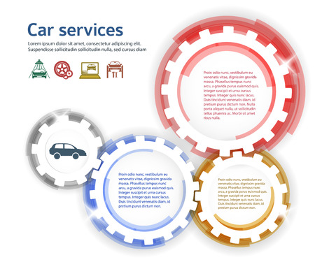 tire cover: Car service background business presentation template with gears form. Vector illustration EPS 10 for info-graphics, number options, web site, page layout firm automobile repair Illustration