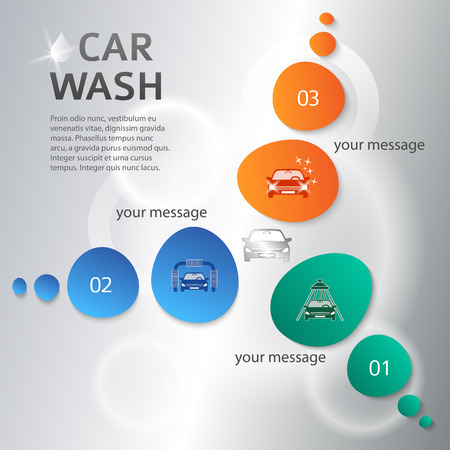car clean: Car wash on circle background with icons design elements. Modern business presentation template for car-wash cover brochure. Abstract vector illustration eps 10 can be for flyer layout, web banner