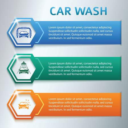 onderhoud auto: Car wash design elementen achtergrond met pictogrammen op kleur streep. Moderne zakelijke presentatie sjabloon voor car-wash bedrijf. Abstracte vector illustratie eps 10 kan worden gebruikt voor web banner