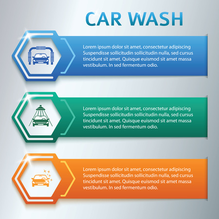 title: Car wash design elements background with icons on color stripe. Modern business presentation template for car-wash business. Abstract vector illustration eps 10 can be used for web banner